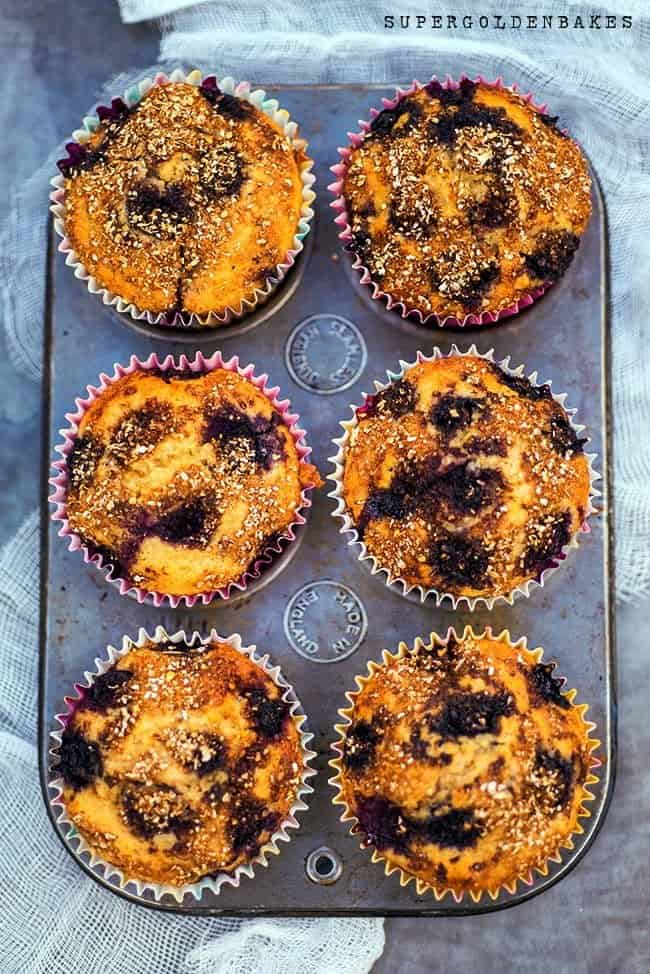 Oaty blueberry muffins