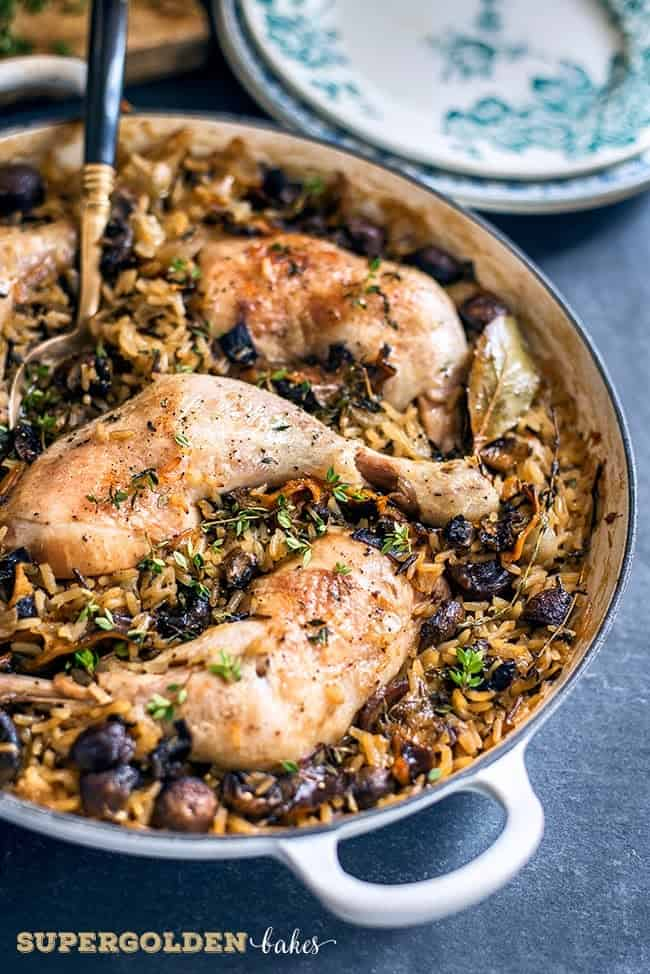 This one-pot chicken and rice casserole with wild mushrooms and chestnuts is packed with flavour. A fantastic comfort food dish the whole family will love.