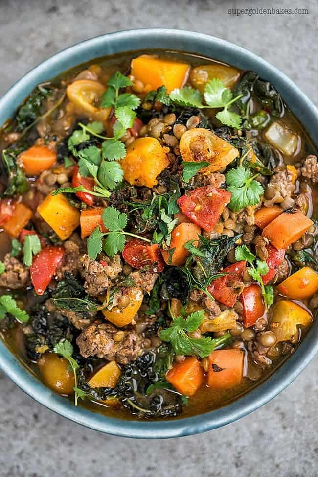 This delicious lamb, lentil and squash stew is great for using up all the odds and ends in the fridge and freezer. Leave out the meat for a vegetarian version.