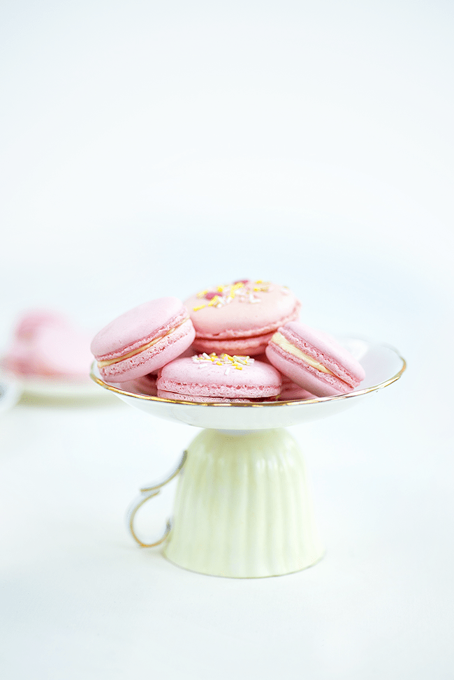 Afternoon tea macarons filled with clotted cream and jam | Supergolden Bakes