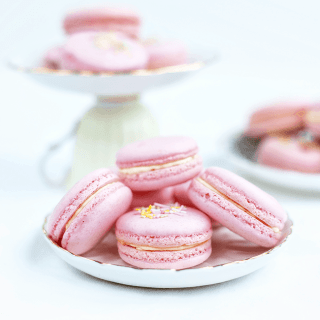 Pretty as a picture, these beautiful macarons are filled with clotted cream and jam for the full Afternoon Tea experience!