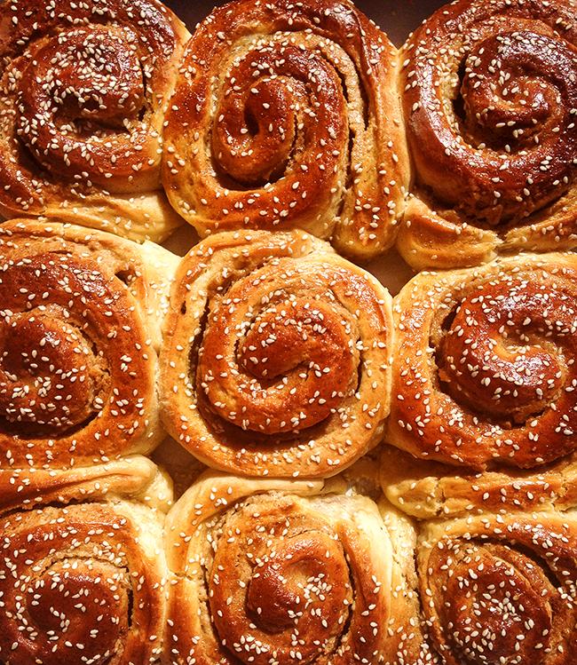 Sweet and sticky honey tahini rolls