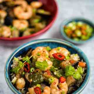 Chinese Eggplant Stir Fry with Prawns and Green Peppers