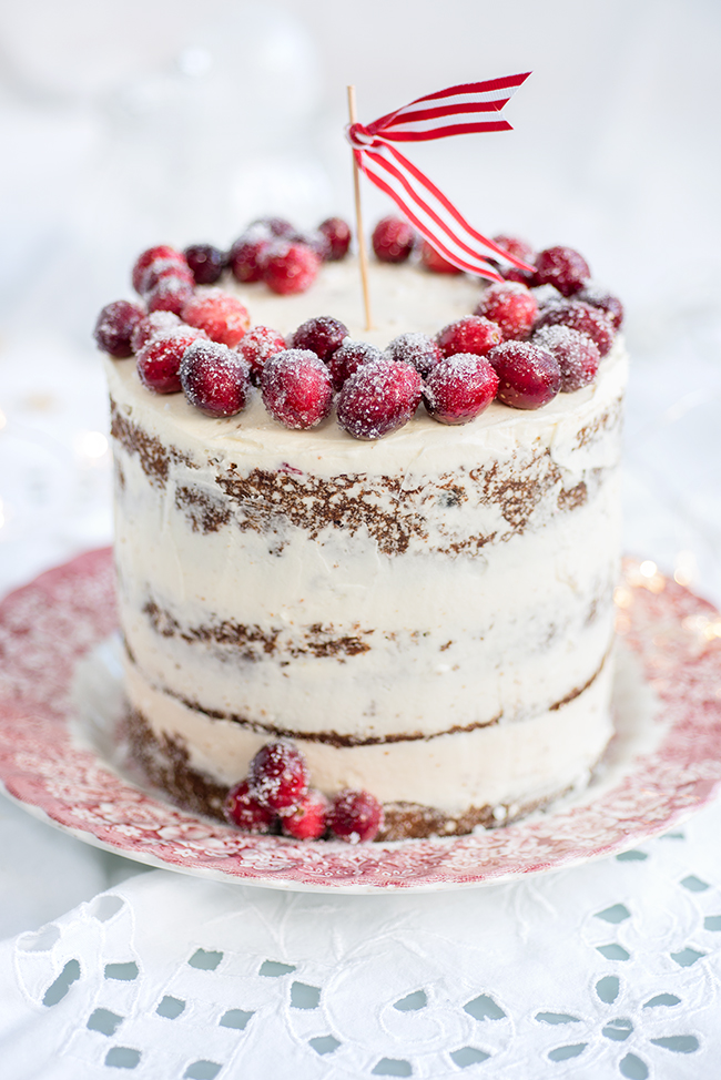 Festive Christmas Cake with cranberry and walnuts