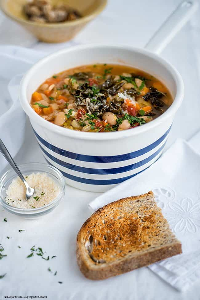 Ribollita is a hearty Tuscan vegetable soup that is made extra filling by the addition of slightly stale bread. Totally delicious and budget friendly.