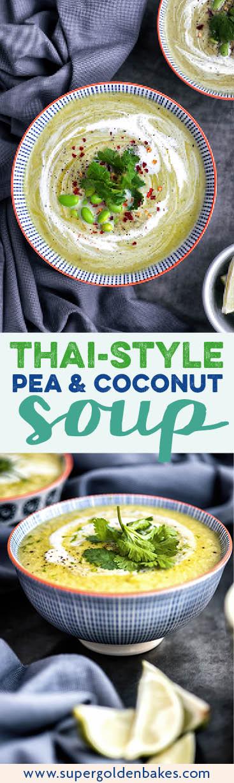 Pea, Edamame, Chilli and Coconut Soup