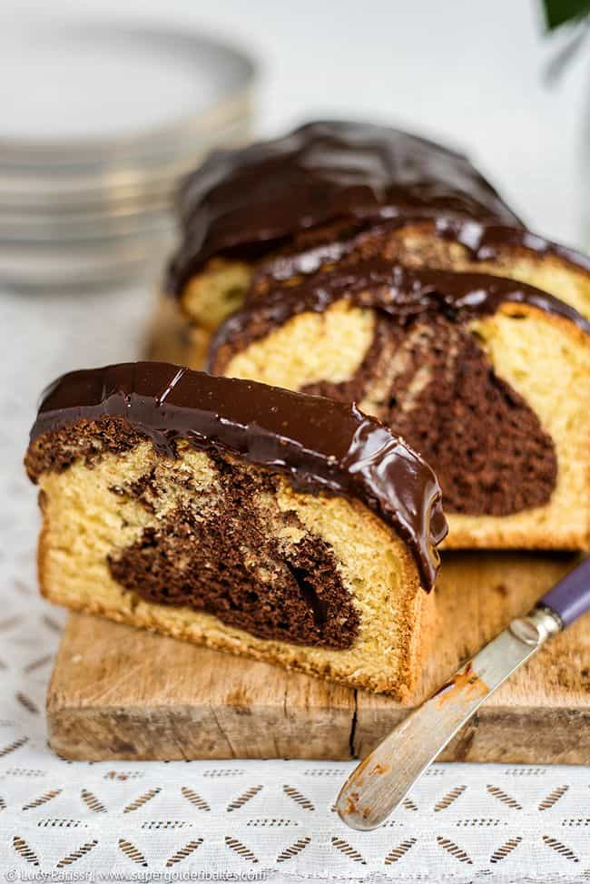Blood orange and chocolate marble cake with rich chocolate glaze