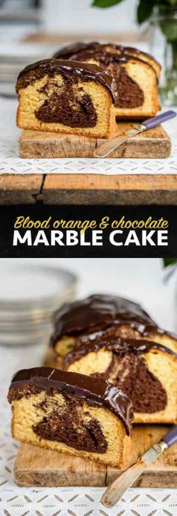 Blood orange & chocolate marble cake with rich chocolate glaze | Supergolden Bakes