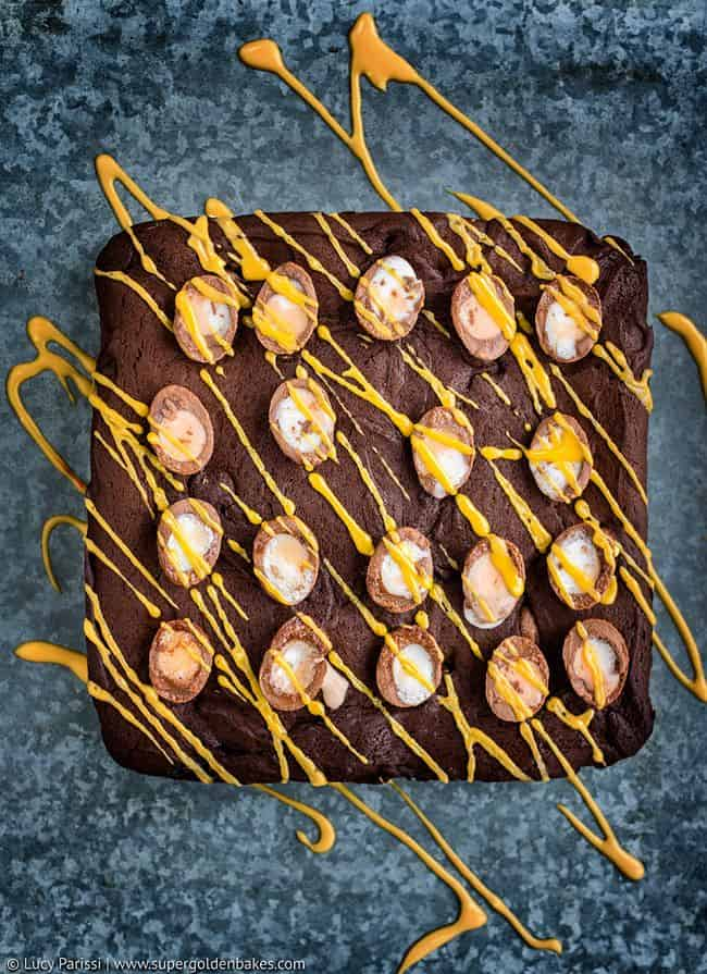 Easter Brownies drizzled with yellow glaze