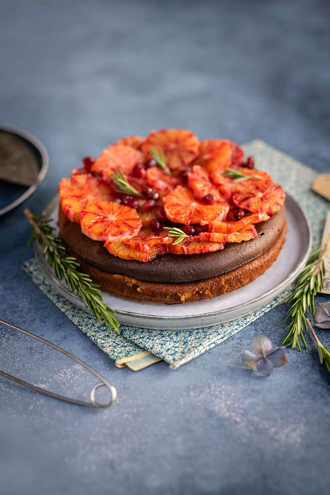 Slimming world cheesecake decorated with blood orange slices