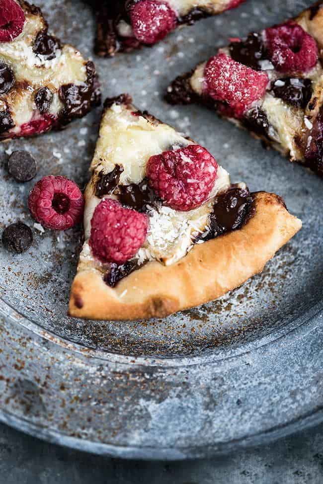 Brie, Chocolate and Raspberry Dessert Pizza