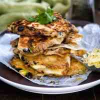 Cheesy Pulled Pork, Black Bean and Avocado Quesadillas