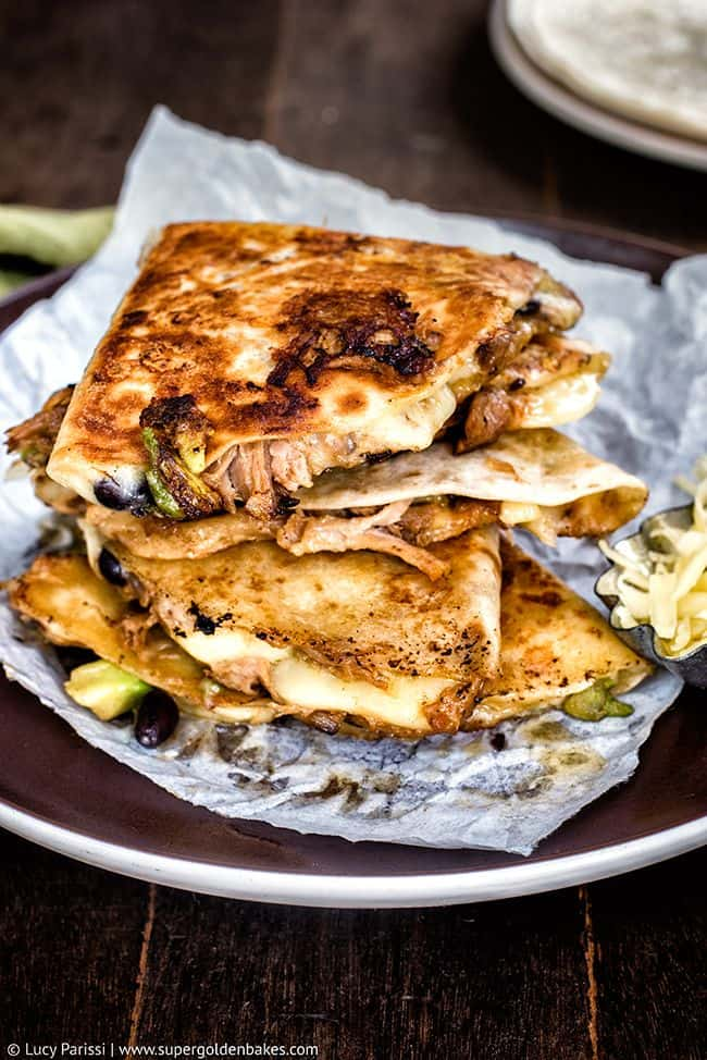 Cheesy Pulled Pork, Black Bean & Avocado Quesadillas   Supergolden Bakes