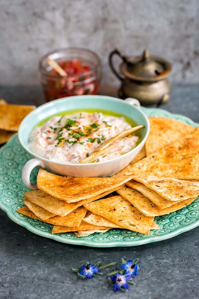 Easiest three ingredient dip with homemade spicy tomato salsa for Can-It-Forward Day