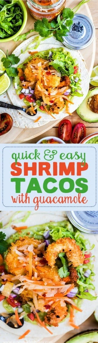 Shrimp Tacos with Guacamole and Spicy Slaw – a perfect meat for Taco Tuesdays or any day of the week!