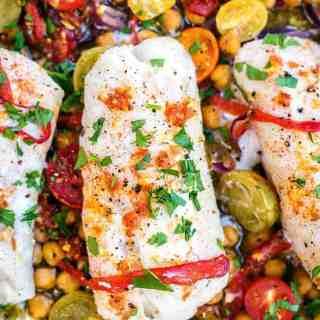 Cod with chorizo and chickpeas