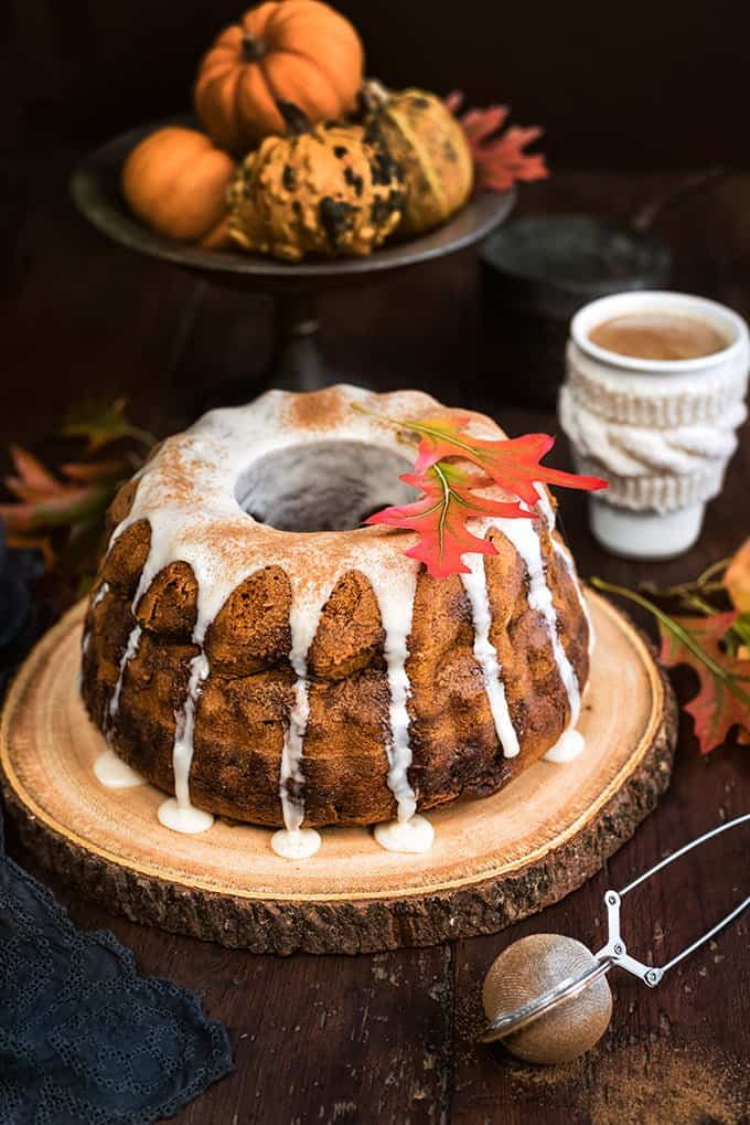 Pumpkin Bundt Cake with Chai Glaze