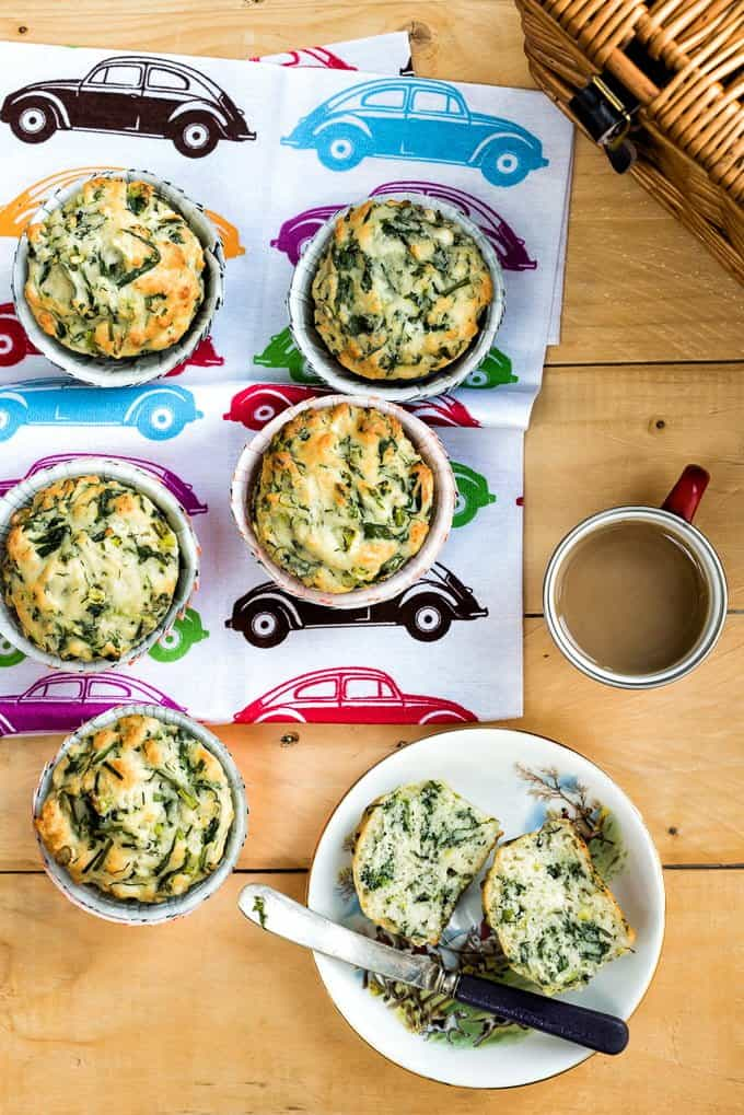 Spanakopita muffins - packed with feta cheese, spinach and herbs these make the perfect portable snack.