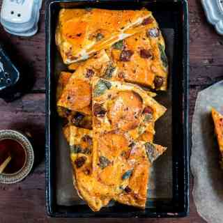 Spanish tortilla with chorizo, sweet potato and squash. This can be eaten hot or cold, as a main or a snack.