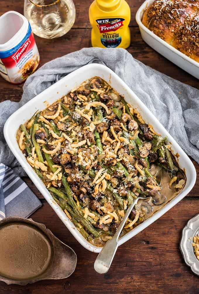 Green bean casserole and fluffiest bread rolls - perfect side dishes for Thanksgiving or Christmas