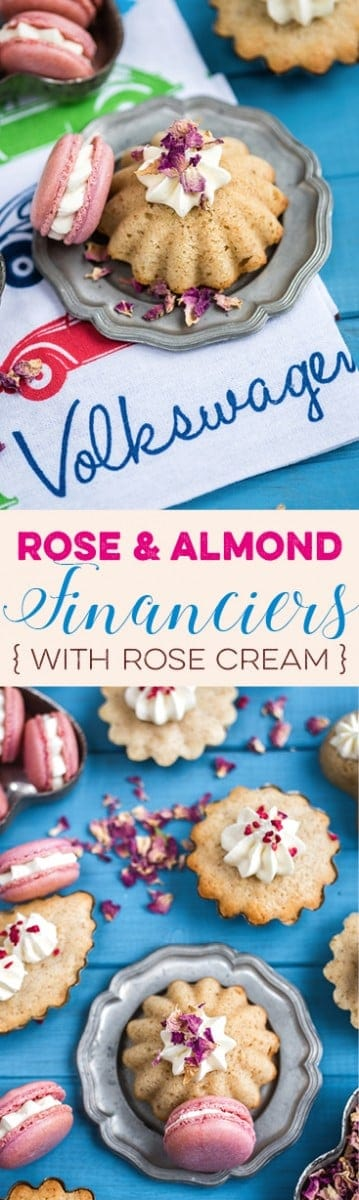 "Rose and almond financiers with rose cream. Visit the collaborative board ""Food Bloggers for Volkswagen"" for more inspiring recipes and ideas. https://de.pinterest.com/volkswagen/food-bloggers-for-volkswagen/"