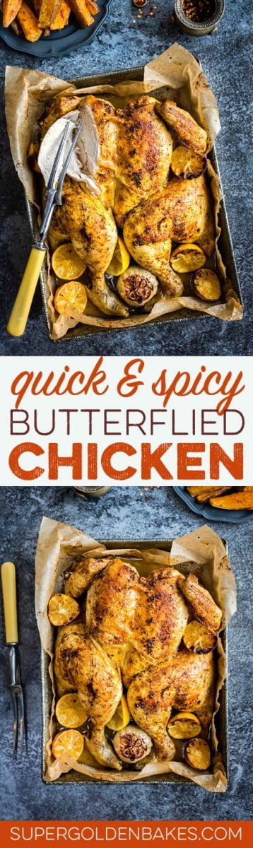 Quick spicy butterflied chicken with sweet potato wedges