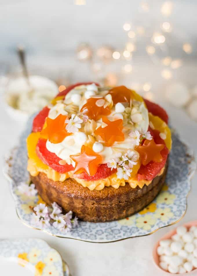 Citrus trifle cake with orange blossom pastry cream and blood orange jelly– a delicious, fragrant take on traditional English trifle.