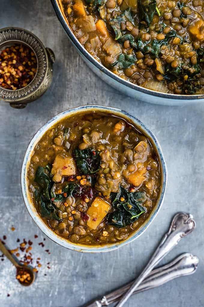 vegan lentil, sweet potato and kale soup