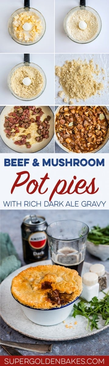 Beef and mushroom pot pies with thyme crust – individual mini-pies filled with delicious slow cooked beef and mushrooms in a dark ale gravy.