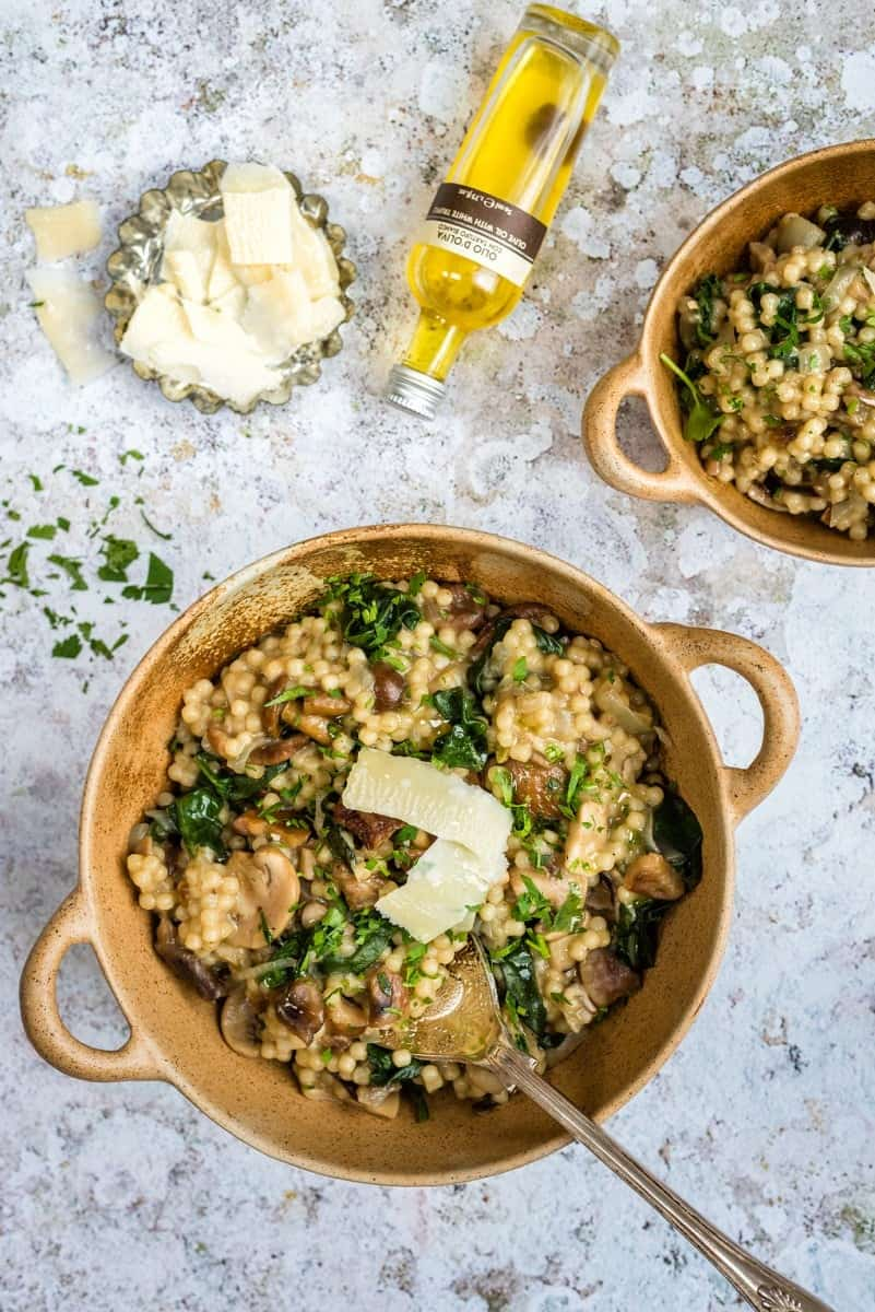 Cheat's risotto with couscous, wild mushrooms, chestnuts, spinach and Parmesan - ready in under 30 minutes!