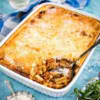 Greek Pastitsio - mince and pasta bake with cheese sauce