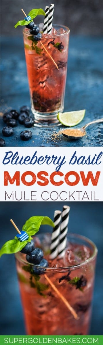 Blueberry and basil Moscow Mule cocktail - refreshing, spicy and delicious!