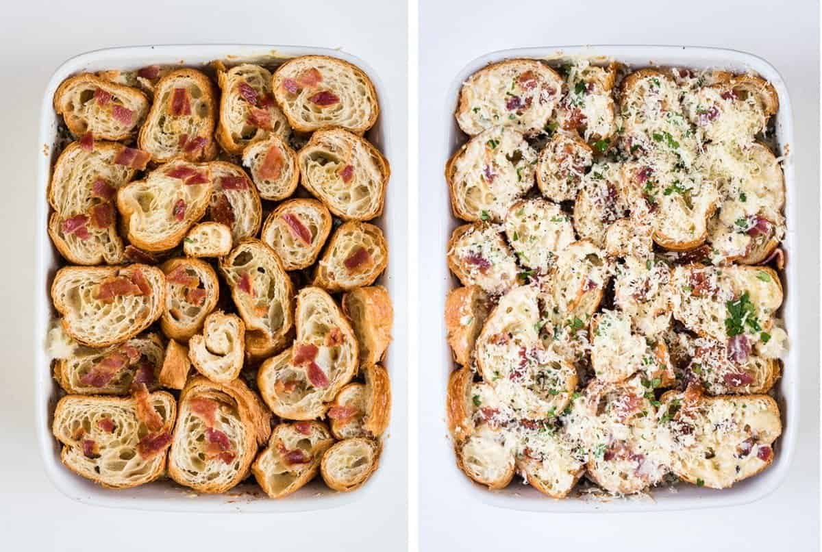 This savoury croissant pudding with Comté cheese and bacon is perfect for feeding a crowd on special occasions!
