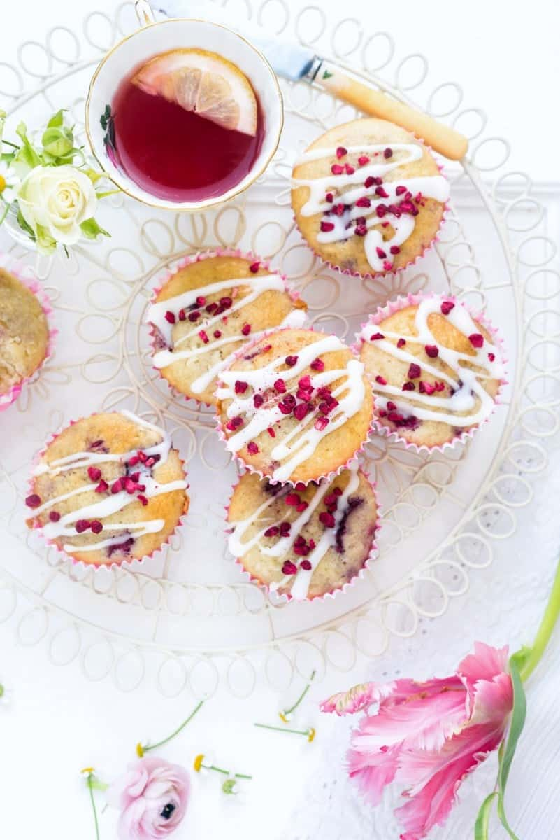 Gluten-free raspberry and white chocolate muffins with simple glaze