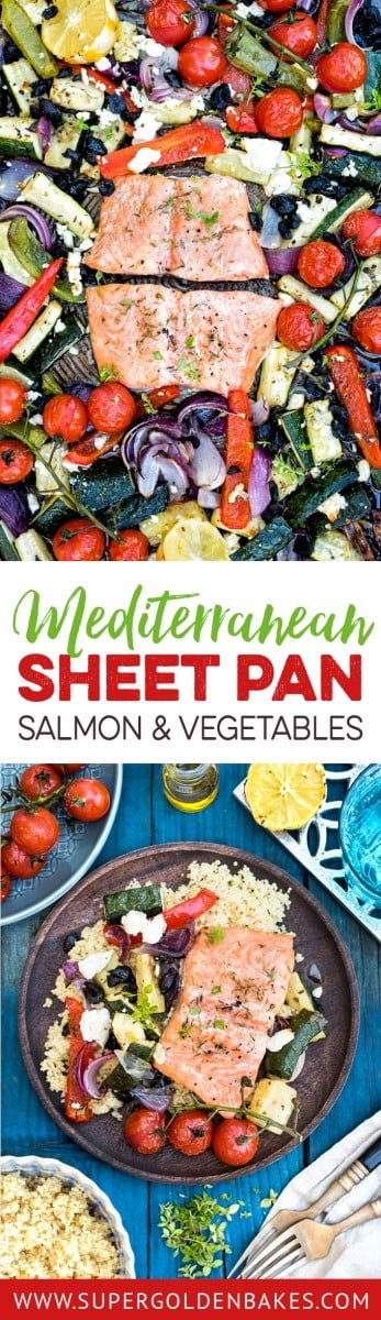 Mediterranean sheet pan salmon – ready in 30 minutes! This quick meal is easy, healthy and delicious making the most of summer vegetables.