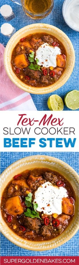 This delicious Tex Mex beef stew with sweet potatoes is perfect whatever the season!