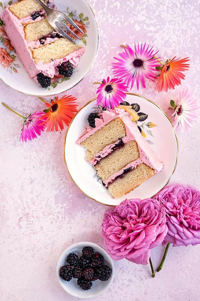 Vanilla layer cake with blackberry buttercream - perfect for birthdays and celebrations | Supergolden Bakes