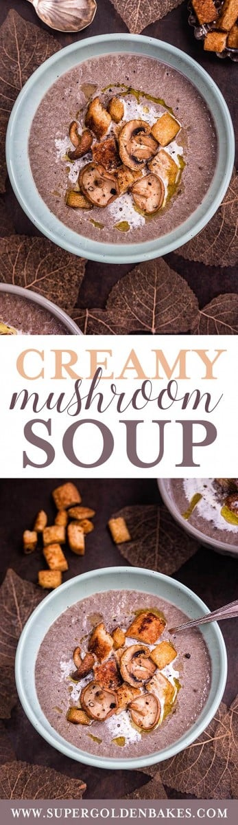 This creamy mushroom soup is like a hug in a bowl! Make it with both wild and cultivated mushrooms for maximum flavour. Leave the cream and butter out for a vegan version | Supergolden Bakes