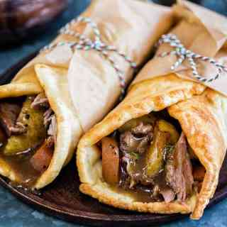 Take your Sunday roast to the next level with a Yorkshire pudding wrap! Delicious roast lamb, crispy potatoes, vegetables and gravy wrapped in a Yorky pud is the ultimate in comfort food | Supergolden Bakes