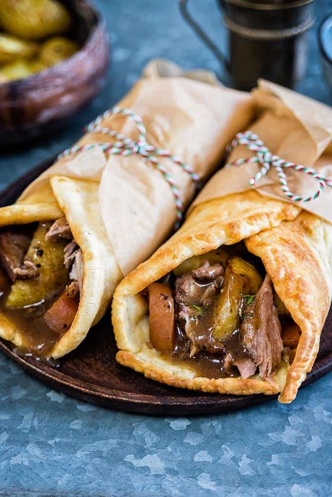 Take your Sunday roast to the next level with a Yorkshire pudding wrap! Delicious roast lamb, crispy potatoes, vegetables and gravy wrapped in a Yorky pud is the ultimate in comfort food   Supergolden Bakes
