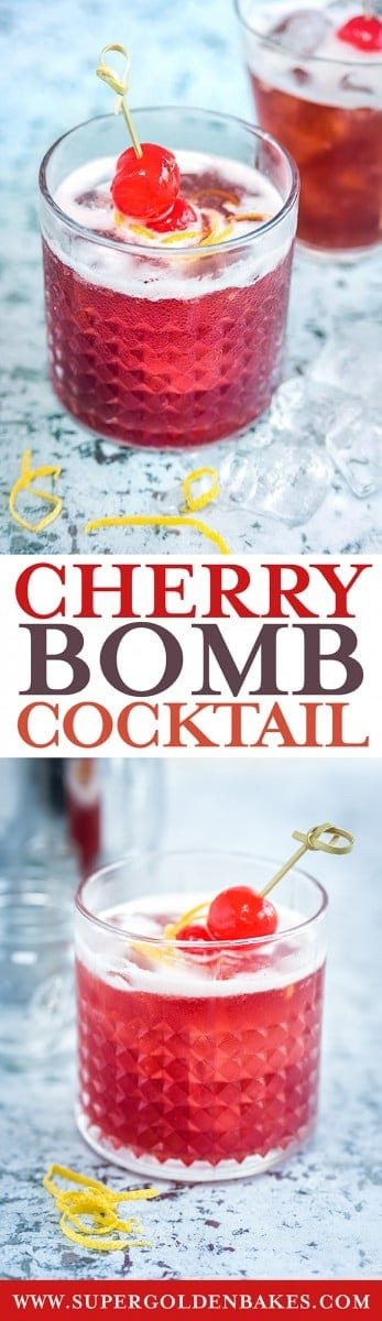 The Cherry Bomb pairs bourbon with cherry brandy and it is a marriage made in heaven. A thoroughly delightful cocktail that looks pretty but packs a punch. #Bourbon #Cocktails #cocktailrecipe