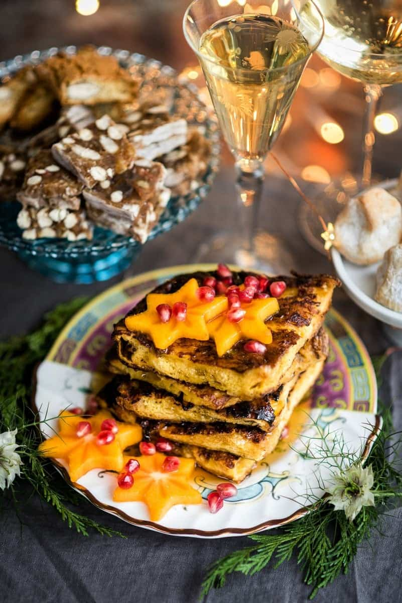 A breakfast of Panettone French toast and Prosecco using the goodies from Selfridges Italian Christmas hamper