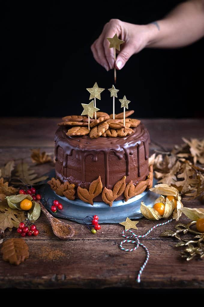 This vegan chocolate gingerbread layer cake is perfect for the holidays and a spectacular celebration cake any time of the year.