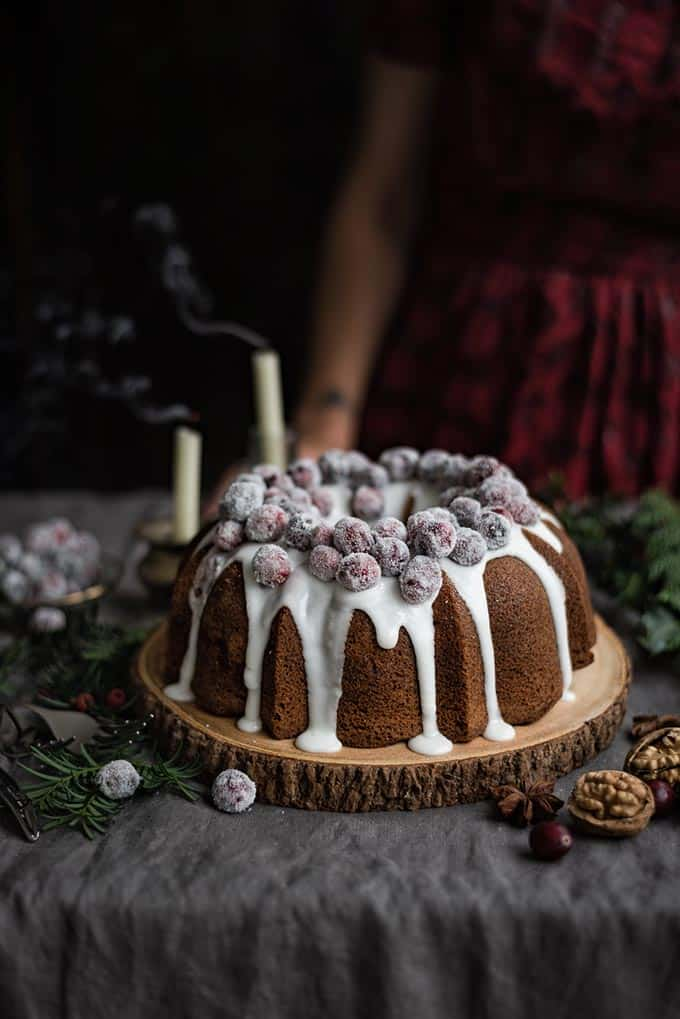 Cranberry and walnut bundt cake with frosted cranberries – perfect for Christmas!