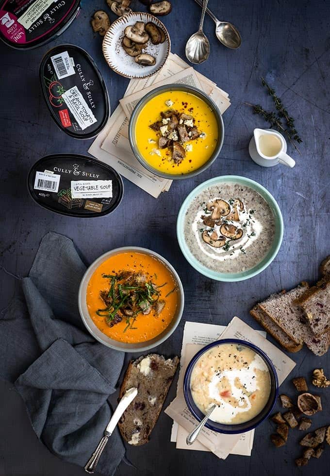 Customise your Cully & Sully soups with homemade croutons, herbs, a drizzle of cream and sparkling or grating of cheese