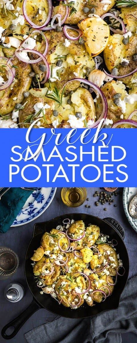 Greek smashed potatoes with feta, rosemary, garlic and capers #smashedpotatoes #sidedish #vegetarian