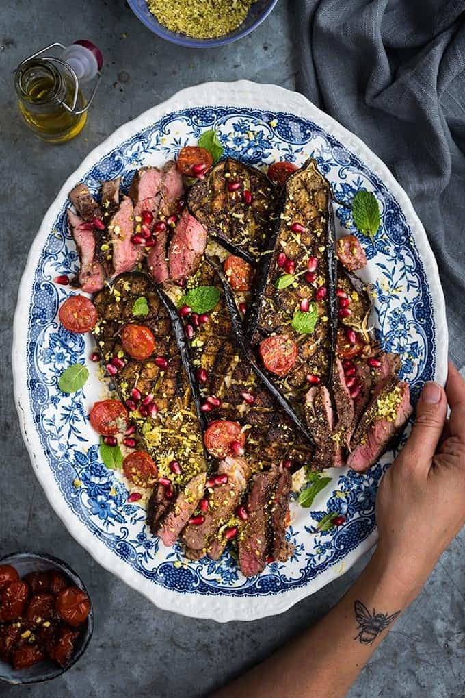 Do you need a quick and delicious meal in a hurry? Make my griddled lamb steaks with roasted aubergines, tomatoes and couscous. Drizzle with yoghurt dressing and scatter with pomegranate seeds and chopped pistachios for a colourful and delicious quick meal.