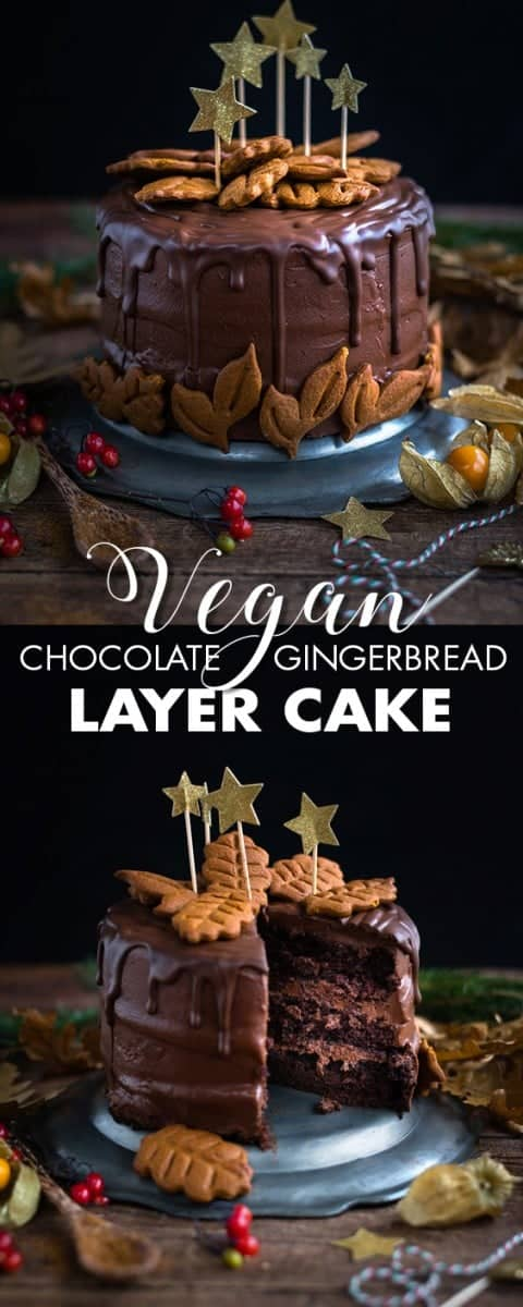 This vegan chocolate gingerbread layer cake is perfect for the holidays and a spectacular celebration cake any time of the year. #vegancake #chocolatecake #layercake #christmas