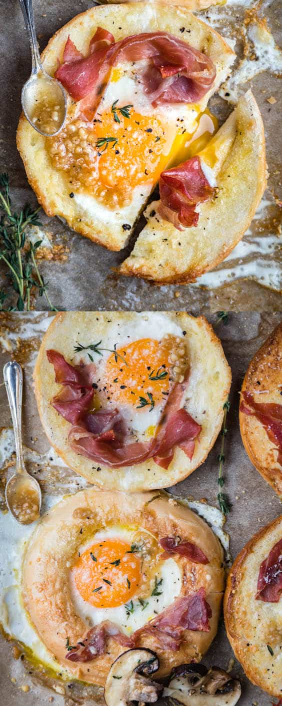 Meet your new favourite breakfast! These sheet-pan baked eggs-in-a-bagel-hole are easy and quick to prepare and sure to be a total crowdpleaser.  #sheetpan #egginahole #breakfast #brunch #eggrecipes