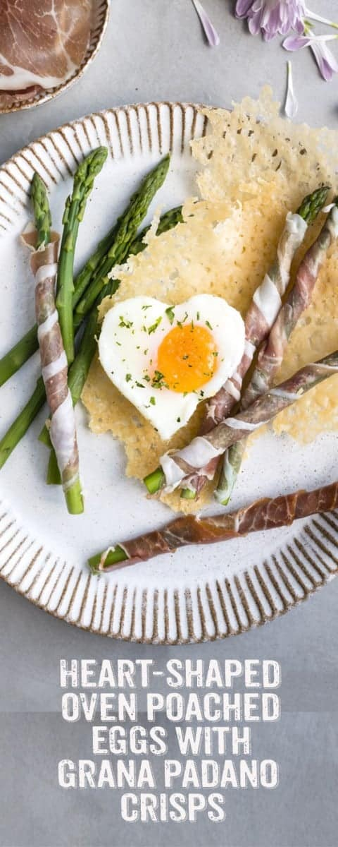Surprise your Valentine with this romantic breakfast of heart-shaped oven-poached eggs served with Grana Padano crisps and Prosciutto di San Daniele asparagus soldiers ❤️